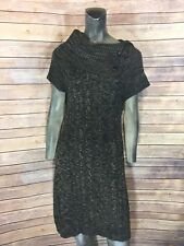Calvin Klein Women Small Brown Black Marble Cable Knit Short Sleeve Career Dress