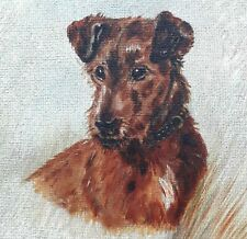 More details for irish terrier oil on board dog painting in its original wooden frame