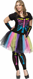 Funky Punk Bones Adult Women's Costume Dress Tutu Plus Size Skeleton