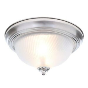 NICKEL BRUSHED CEILING FIXTURE 2 Lightning Bulbs Flush Mount Swirl Glass Dome