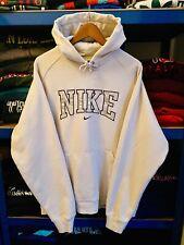 Vintage 90's Nike Spell Out Sweatshirt Hoodie Cream Large