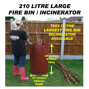 210 LITRE LARGE GARDEN BURNER/INCINERATOR/BONFIRE BIN FOR WOOD/RUBBISH/LEAVES