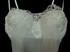 Linea Donatella White Bridal Set 2 Pc Pearls & Sequins on Lace Thong Sexy Size M