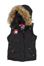 Canada Weather Gear Womens Vest Small Black Quilted Faux Fur Hood $110