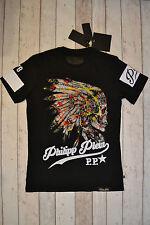 "BNWT PHILIPP PLEIN Native American Indian Skull ""bene"" T-shirt taglia XL NERO"