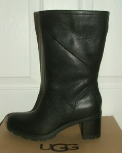 BN UGG Australia Jessia Black Leather Shearling Lined  Boots RP £220 UK 6.5