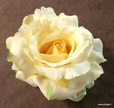 "Full 5"" Pale Yellow Rose Silk Brooch Pin,Lapel,Scarf,Rockabilly"