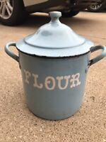 Antique BLUE ENAMELWARE FLOUR BIN Graniteware Canister Pot Storage Kitchen