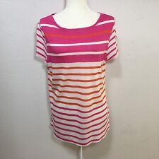 Talbots Woman`s white orange pink stripe short sleeve lightweight shirt Large