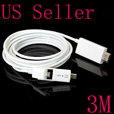 10FT 5 Pin & 11 Pin Micro USB MHL to HDMI 1080P HD TV Cable for Samsung HTC LG