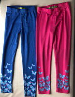 Lot Of 2 Millie Loves Lily Girls Leggings 8 Pink Blue Butterfly Pants Kids Youth