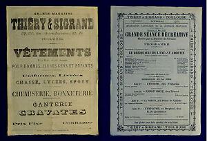 "Affichette format A4 ""Grands magasins Thiery et Sigrand"" Toulouse - 21 mars 1909"