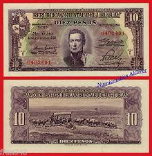 URUGUAY 10 Pesos Ley 1939 1967 Pick 42b  SC / UNC