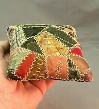 FABULOUS Antique Crazy Quilt Pin Cushion Signed Dated