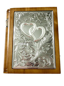 Wedding Promises Silver Toned Wooden Book Shelf Photo Album Hearts 160 Pictures