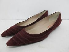 Bruno Frisoni Suede Leather Pointed Toe Flats in Burgundy Size: 39 EUR