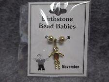 November Baby Birthstone Bead Babies Necklace Pendant Charm Gold Tone Rhinestone