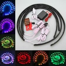 7 Color 4pcs LED Strip Under Car Tube underglow Underbody System Neon Lights Kit