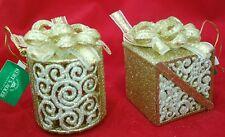 "Gold Silver Gift Box Present Christmas 3"" Acrylic Ornament Set 2 Kurt Adler"