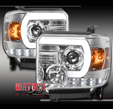 FOR 14-15 GMC SIERRA 1500/2015 2500 3500 HD LED TUBE PROJECTOR HEADLIGHTS CHROME