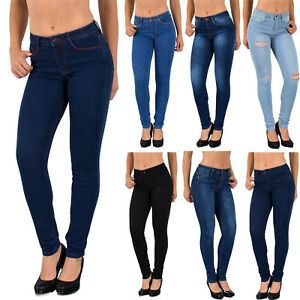 Damen Röhrenjeans High Waist Skinny Jeans Jeanshose Stretch Hochbund Jeans S400