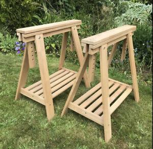 Pair of IKEA height adjustable wooden trestle table/desk legs - good condition