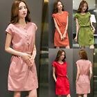 Summer Korean Women Cotton Linen Casual Slim A Line Tunic Sundress Mini Dress
