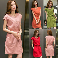 Summer Korean Women Cotton Linen Casual Slim A Line Tunic Sundress Mini Dress