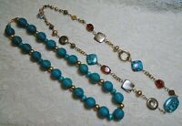 VINTAGE TO NOW TURQUOISE BLUE WOOD & STONE BEADED NECKLACE LOT
