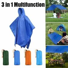 3 in 1 Raincoat Poncho Waterproof Multifunction Outdoor Rain Canopy Camping Mat