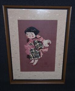 Child in Aizu Kiyoshi Saito (1907-1997) Japanese Woodblock Print Signed 1960