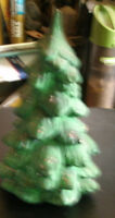 "Green ceramic Christmas tree hand made 5 1/2"" high 3"" round made in 1973"