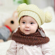 Infant Baby Kids Girl Boy Dual Balls Warm Knitted Cap Beanie Hat Photo Prop