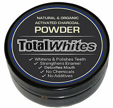 Natural Organic Activated Charcoal powder Teeth Whitening, 'Total Whites' 80ml.