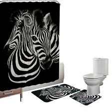 15 Pc Cool Zebra Memory Foam Bath Mats Set Contour Mat Shower Curtain Hook Black