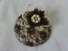 Chocolate Brown & Ivory Lace Retro Cocktail Hat Fascinator Pin Up Fifties Style
