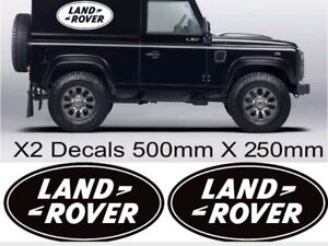 x2 LANDROVER OVAL LOGO DEFENDER OFF ROAD GRAPHICS STICKERS DECALS