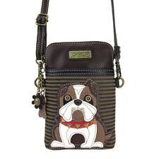 Chala Cell Phone Crossbody Bag Bulldog Dog Convertible Strap Olive Green Stripes
