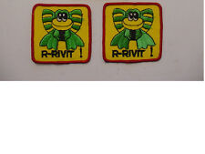 """Lot Of 2 Vintage Rivit Frog Patch Embroidered 70'S -Iron On Patch- 3""""X3"""""""