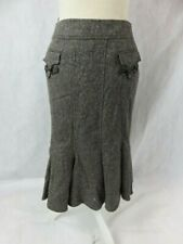 Les Copains Black/White Wool Blend Tweed Skirt Pleated Detail NWT Size 40
