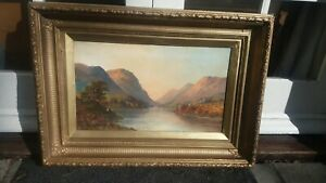 W Richards / Jamieson , Antique Oil Painting , Highland Scottisg Loch scene