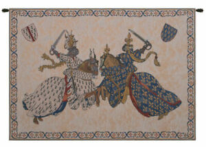 Tournament of Knights Roi Rene Belgian Tapestry Wall Art Hanging New 33x46 inch