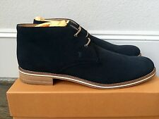 800$ Tod's Dark Blue Suede Ankle Boots Size US 12.5 Made in Italy