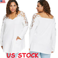 Plus Size Women Ladies V Neck Lace Shirt Long Sleeve Casual Loose Blouse Tops US