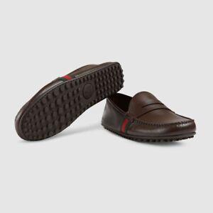 NIB Gucci Kanye Brown Leather Web Striped Trim Penny Drivers Size 6.5EU/7.5US