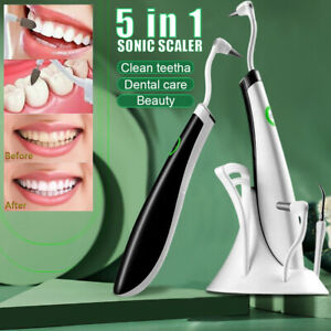 5in1 Electric Sonic Dental Scaler Tartar Calculus Plaque Remover Teeth Cleaner