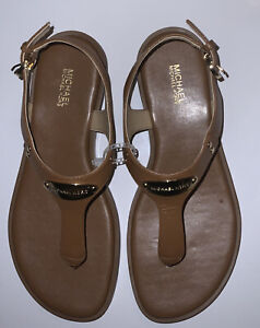 Michael Michael Kors Women Plate Thong Buckle Up Flat Sandals Leather Luggage 8M