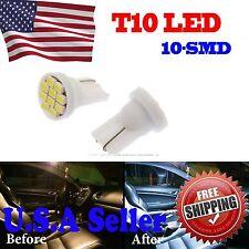 2 X Cool White T10 Wedge 10smd LED Car Side Marker/License Plate Light Lamp Bulb