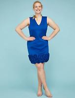 Lane Bryant Womens Ruffled Sheath Dress Plus Size 18 True Blue 2X