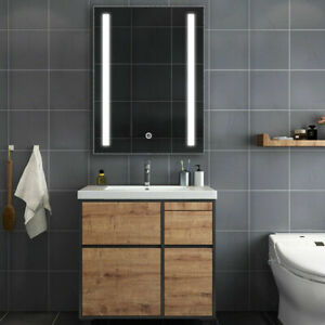 LED Illuminated Bathroom Mirror Cabinet with Touch Sensor Demister Shaver Socket